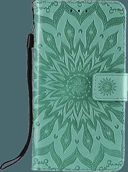 Apple iPhone XR oldalra nyíló flipes bőrtok csuklópánt zöld