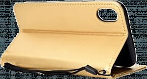 Apple iPhone XR oldalra nyíló flipes bőrtok csuklópánt arany