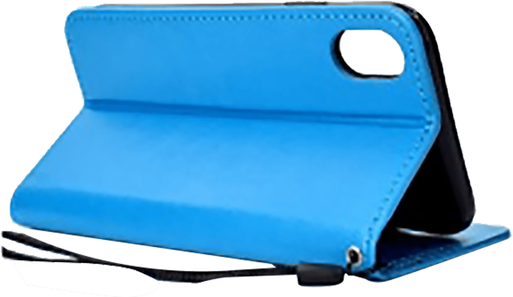 Apple iPhone XR oldalra nyíló flipes bőrtok csuklópánt kék