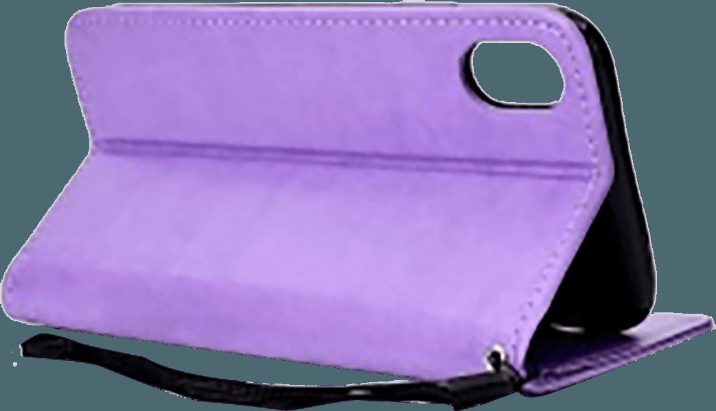 Apple iPhone XR oldalra nyíló flipes bőrtok csuklópánt lila