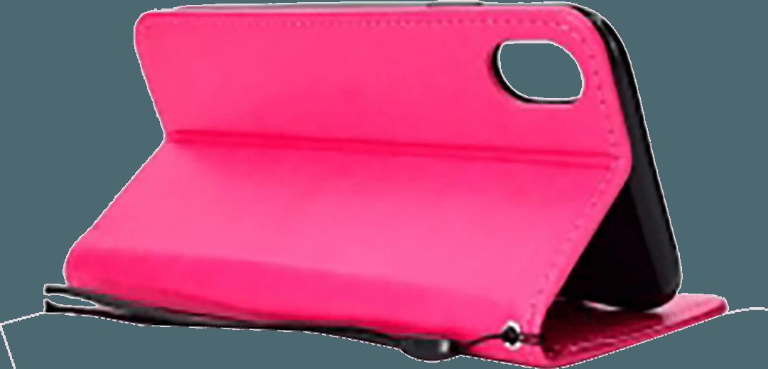 Apple iPhone XR oldalra nyíló flipes bőrtok csuklópánt rózsaszín
