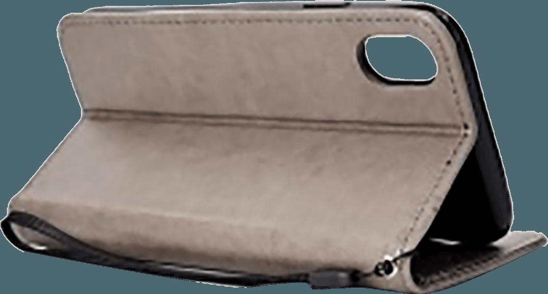 Apple iPhone XR oldalra nyíló flipes bőrtok csuklópánt szürke