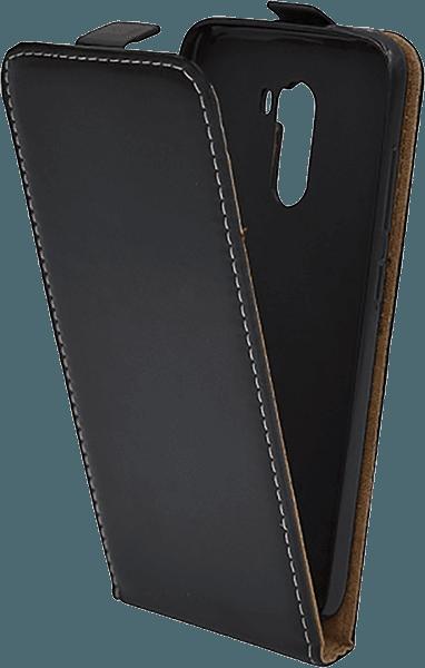 Xiaomi Pocophone F1 lenyíló flipes bőrtok szilikon tartó fekete