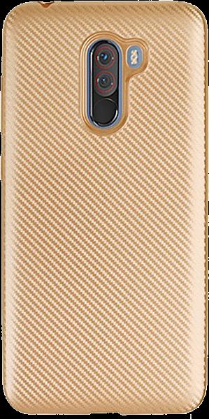 Xiaomi Pocophone F1 szilikon tok karbon mintás arany