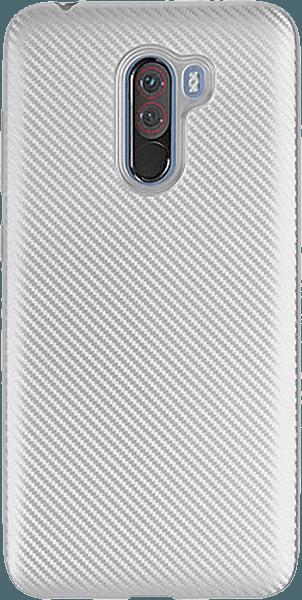 Xiaomi Pocophone F1 szilikon tok karbon mintás ezüst