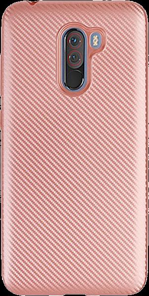 Xiaomi Pocophone F1 szilikon tok karbon mintás rozéarany