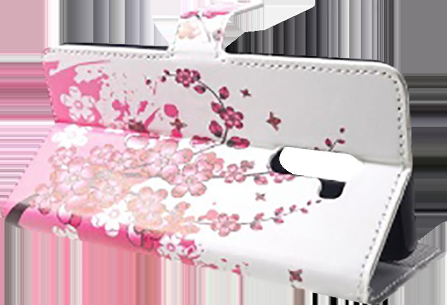 Xiaomi Pocophone F1 oldalra nyíló flipes bőrtok virágmintás fehér