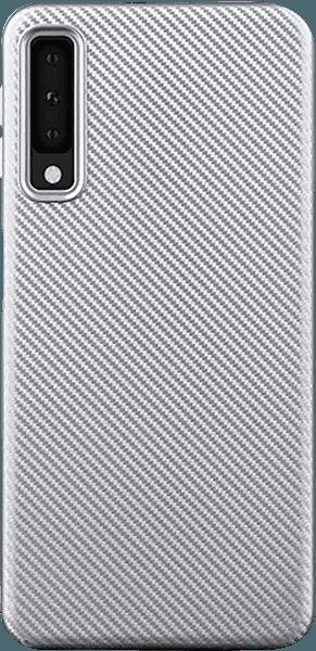 Samsung Galaxy A7 2018 (SM-A750F) szilikon tok karbon mintás ezüst