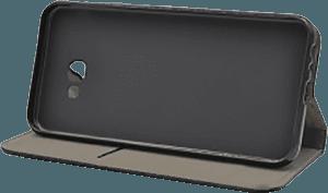 Samsung Galaxy J4 Plus (J415F) oldalra nyíló flipes bőrtok asztali tartó funkciós fekete