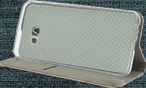 Samsung Galaxy J4 Plus (J415F) oldalra nyíló flipes bőrtok asztali tartó funkciós rozéarany