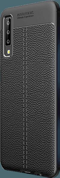 Samsung Galaxy A7 2018 (SM-A750F) ütésálló tok varrás mintás fekete