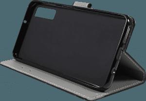 Samsung Galaxy A7 2018 (SM-A750F) oldalra nyíló flipes bőrtok pillangó-virágminta fekete
