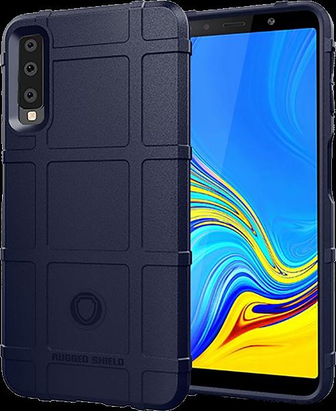 Samsung Galaxy A7 2018 (SM-A750F) szilikon tok négyzet minta sötétkék