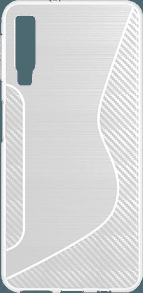 Samsung Galaxy A7 2018 (SM-A750F) szilikon tok karbon mintás átlátszó