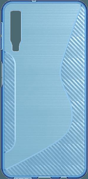 Samsung Galaxy A7 2018 (SM-A750F) szilikon tok karbon mintás kék