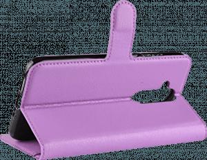 Nokia 8 2018 (Nokia 8.1) oldalra nyíló flipes műanyag tok asztali tartó funkciós lila