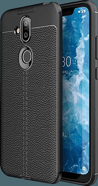 Nokia 8 2018 (Nokia 8.1) szilikon tok varrás mintás fekete