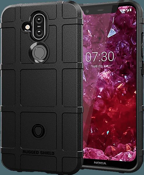 Nokia 8 2018 (Nokia 8.1) szilikon tok négyzet minta fekete
