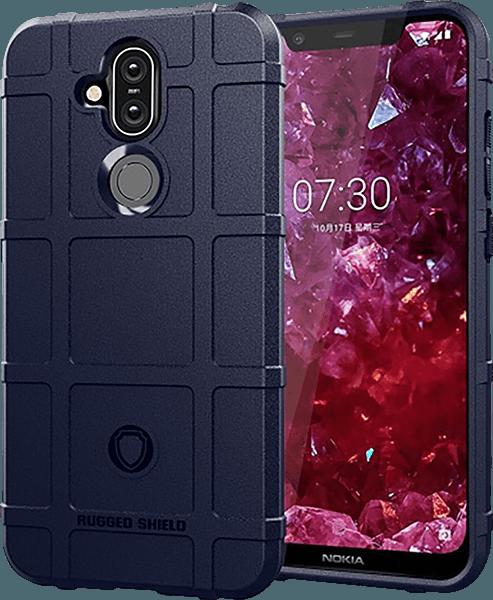Nokia 8 2018 (Nokia 8.1) szilikon tok négyzet minta sötétkék