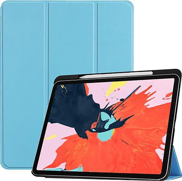 Apple iPad Pro 2018 12.9 oldalra nyíló flipes bőrtok TRIFOLD asztali tartó funkció világoskék