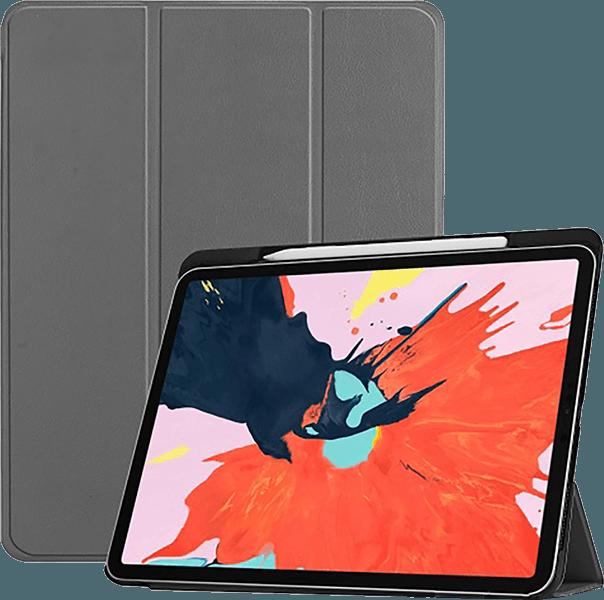 Apple iPad Pro 2018 12.9 oldalra nyíló flipes bőrtok TRIFOLD asztali tartó funkció szürke