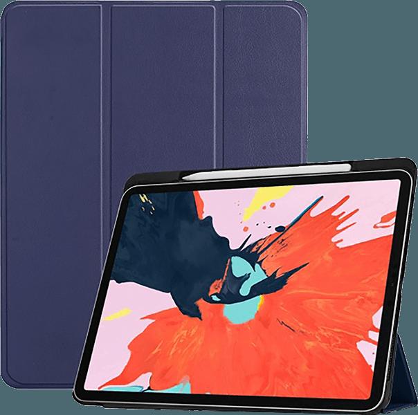 Apple iPad Pro 2018 12.9 oldalra nyíló flipes bőrtok TRIFOLD asztali tartó funkció sötétkék