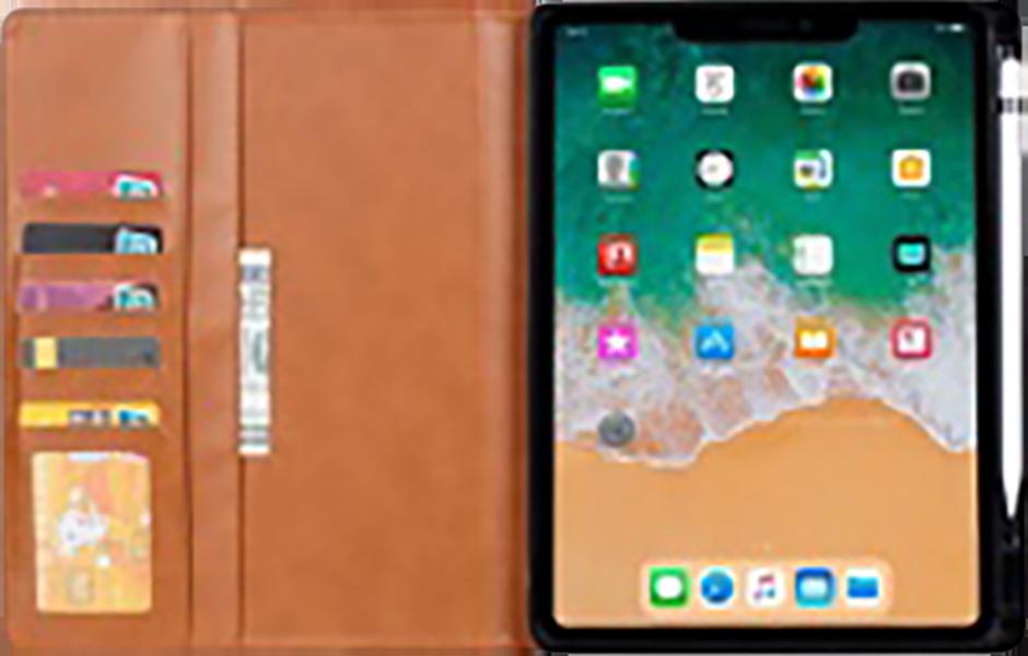 Apple iPad Pro 2018 12.9 oldalra nyíló flipes bőrtok bankkártya tartó fekete