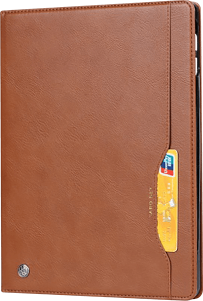 Apple iPad Pro 2018 12.9 oldalra nyíló flipes bőrtok bankkártya tartó barna