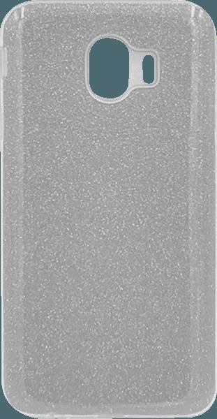 Samsung Galaxy J4 2018 (J400) szilikon tok csillogó hátlap ezüst
