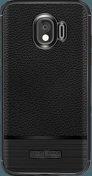 Samsung Galaxy J4 2018 (J400) ütésálló tok szálcsiszolt mintás fekete