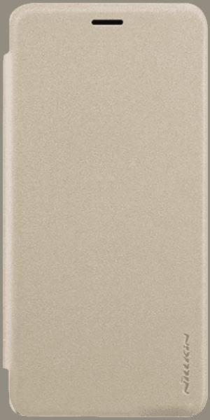 Samsung Galaxy A7 2018 (SM-A750F) oldalra nyíló flipes műanyag tok gyári NILLKIN mikroszálas bőr flip arany
