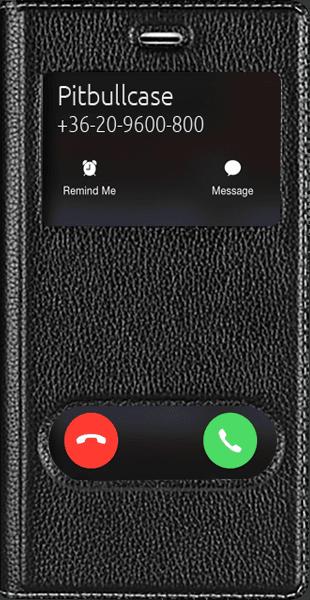 Apple iPhone 8 Plus oldalra nyíló flipes bőrtok valódi bőr fekete