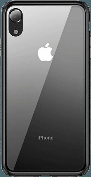 Apple iPhone XR bumper gyári BASEUS edzett üveg hátlap fekete