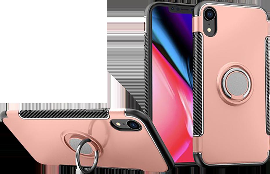 Apple iPhone XR kemény hátlap telefontartó gyűrű rozéarany