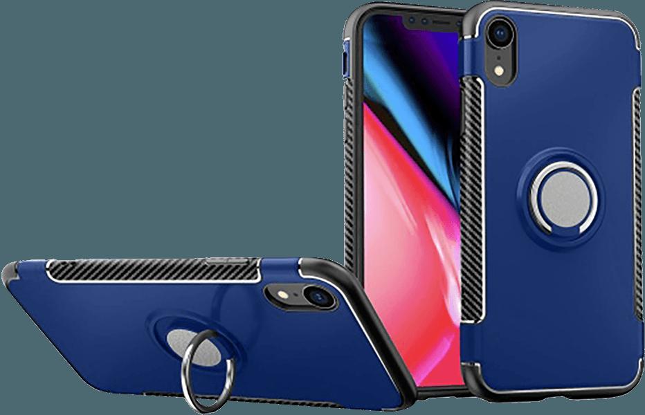 Apple iPhone XR kemény hátlap telefontartó gyűrű sötétkék