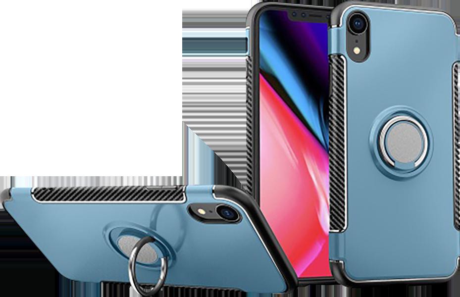 Apple iPhone XR kemény hátlap telefontartó gyűrű kék