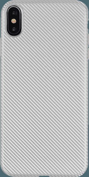 Apple iPhone XR szilikon tok karbon mintás ezüst