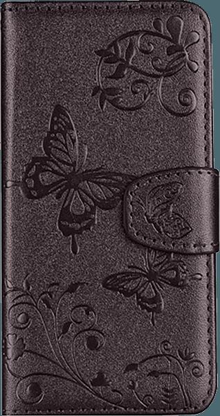 Apple iPhone XR oldalra nyíló flipes bőrtok pillangó mintás aranybarna