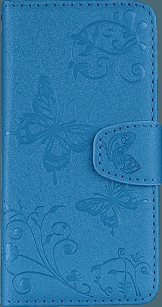 Apple iPhone XR oldalra nyíló flipes bőrtok pillangó mintás kék
