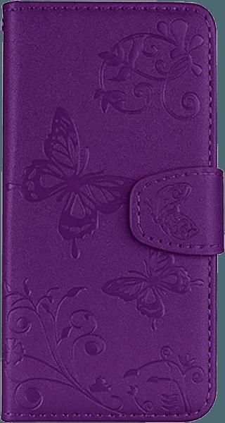 Apple iPhone XR oldalra nyíló flipes bőrtok pillangó mintás lila
