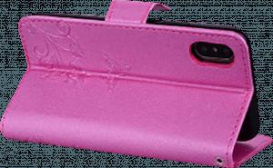 Apple iPhone XR oldalra nyíló flipes bőrtok pillangó mintás rózsaszín