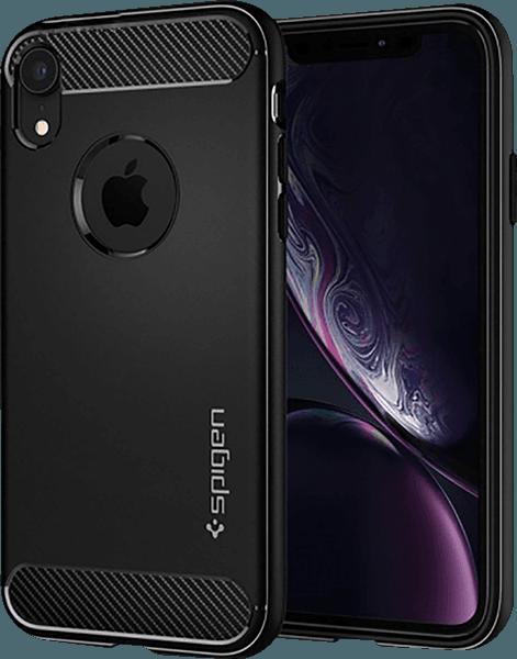 Apple iPhone XR ütésálló tok gyári SGP légpárnás sarok logó kihagyós fekete