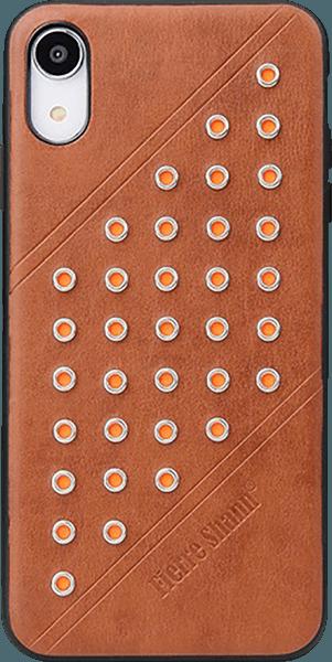 Apple iPhone XR kemény hátlap gyári FIERRE SHANN bőr hátlap barna