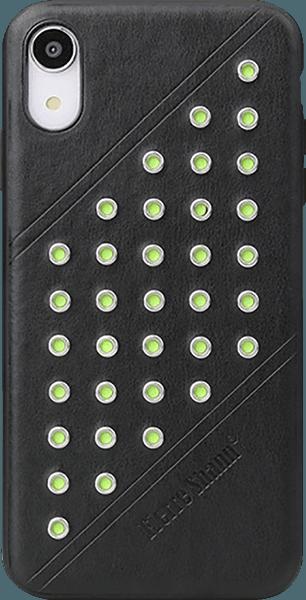 Apple iPhone XR kemény hátlap gyári FIERRE SHANN bőr hátlap fekete