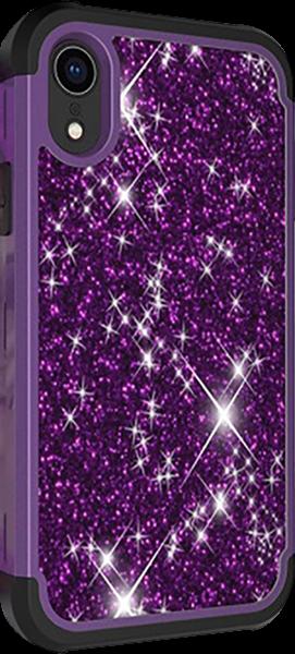 Apple iPhone XR ütésálló tok flitteres lila