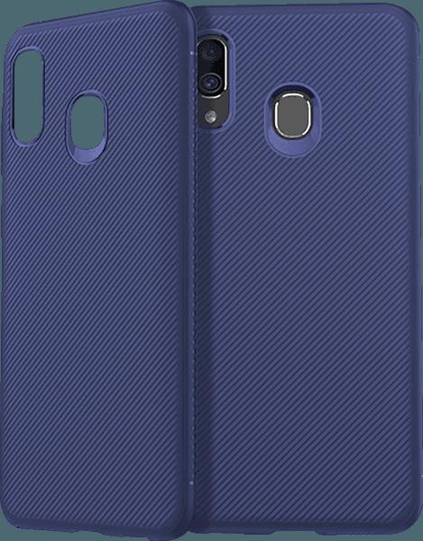 Samsung Galaxy A40 (SM-405) szilikon tok nyakba akasztható fül kék