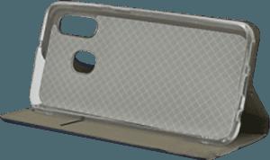 Samsung Galaxy A40 (SM-405) oldalra nyíló flipes bőrtok asztali tartó funkciós kék