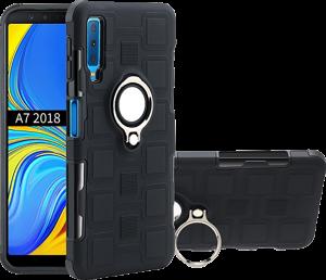 Samsung Galaxy A7 2018 (SM-A750F) ütésálló tok beépített fémlemez fekete
