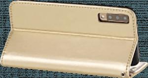 Samsung Galaxy A7 2018 (SM-A750F) oldalra nyíló flipes bőrtok csuklópánt arany
