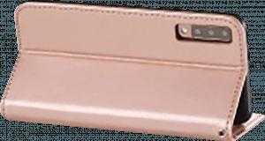 Samsung Galaxy A7 2018 (SM-A750F) oldalra nyíló flipes bőrtok csuklópánt rozéarany